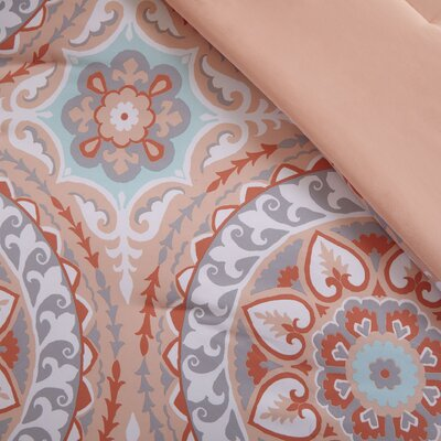 Almerton Comforter Set Size: Twin, Color: Coral