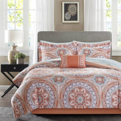 Taddart Comforter Set Size: Queen, Color: Coral