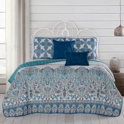 Doshie 5 Piece Reversible Quilt Set Size: King, Color: Blue