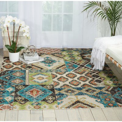 Star Green/Blue/Orange Area Rug Rug Size: 53 x 73