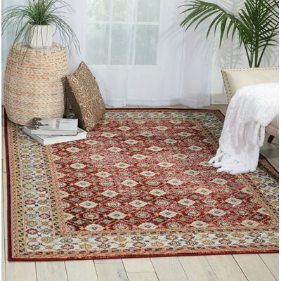 Dover Red/Orange/Green Area Rug Rug Size: 53 x 73