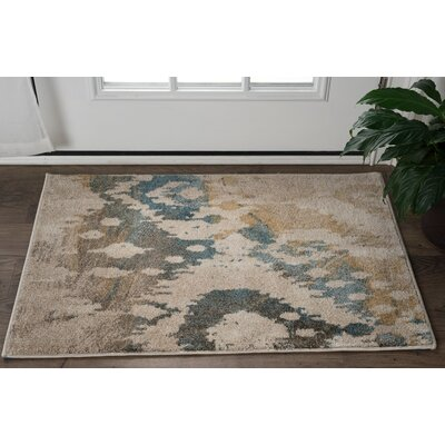 Higgins Cream/Blue Area Rug Rug Size: 2 x 3