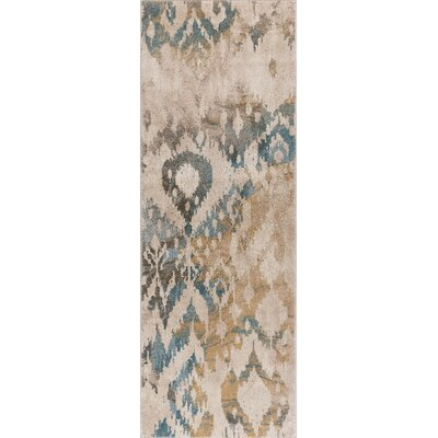 Higgins Cream/Blue Area Rug Rug Size: Runner 27 x 73