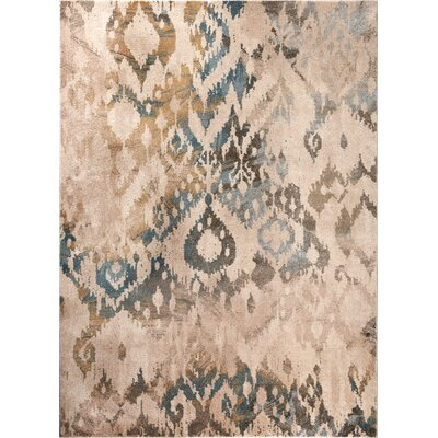 Higgins Cream/Blue Area Rug Rug Size: 53 x 73