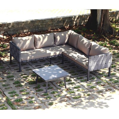 Nieuwegein Creek 3 Piece Sectional Seating Group with Cushion