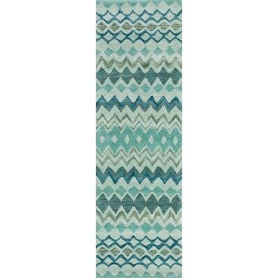 Allen Hand-Tufted Teal Area Rug Size: Runner 23 x 76