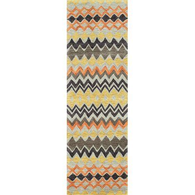 Allen�Hand-Tufted Orange/Yellow Area Rug Rug Size: 36 x 56