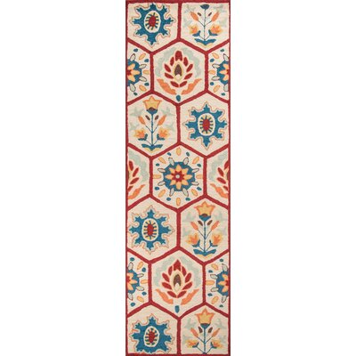 Aliyah�Hand-Tufted Red Area Rug Rug Size: 79 x 99