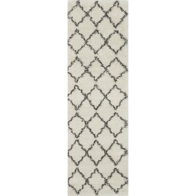 Olhouser Ivory/Charcoal Black Area Rug Rug Size: Runner 23 x 76