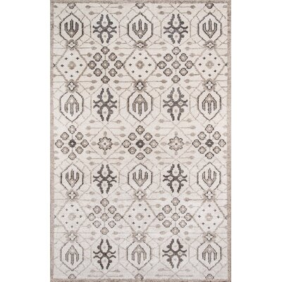 Zoey Hand-Knotted Gray Area Rug Rug Size: Rectangle 36 x 56