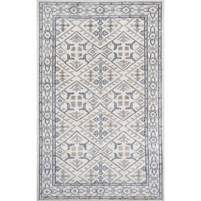 Zoey Hand-Knotted Ivory/Blue Area Rug Rug Size: Rectangle 36 x 56