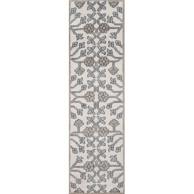 Zoey Hand-Knotted Ivory/Blue Area Rug Rug Size: Runner 23 x 8