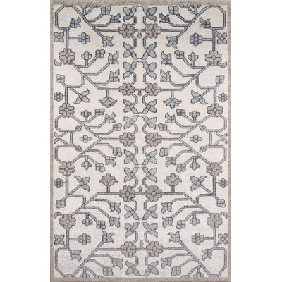 Zoey Hand-Knotted Ivory/Gray Area Rug Rug Size: Rectangle 36 x 56