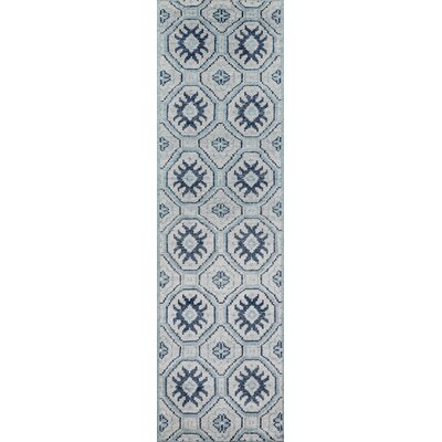 Zoey Hand-Knotted Blue/Gray Area Rug Rug Size: Runner 23 x 8