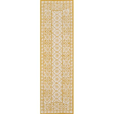 Anaya Hand-Hooked Gold/White Area Rug Rug Size: Runner 23 x 8