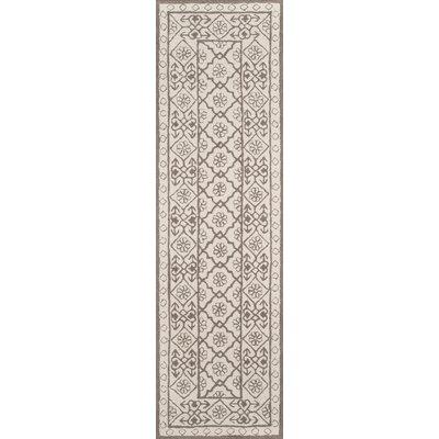 Anaya Hand-Hooked Gray/Ivory Area Rug Rug Size: Runner 23 x 8