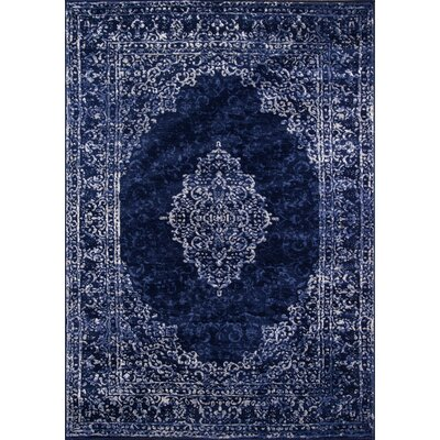 Arden Blue/Ivory Area Rug Rug Size: Rectangle 76 x 96