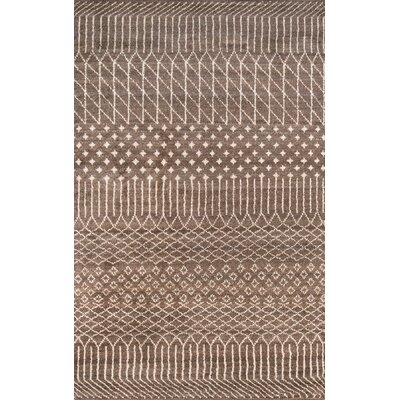 Dante Hand-Knotted Brown Area Rug Rug Size: 36 x 56
