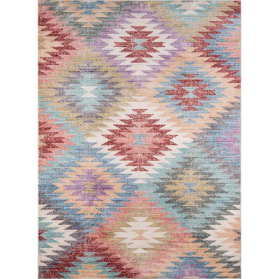 Denis Blue/Red Area Rug Rug Size: 33 x 51