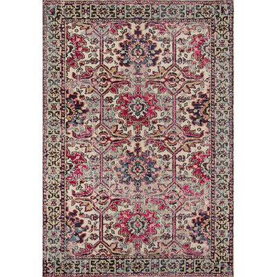 Elaine Beige/Pink Area Rug Rug Size: Rectangle 93 x 126