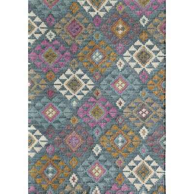 Denisha Hand-Woven Blue/White Area Rug Rug Size: Rectangle 2 x 3