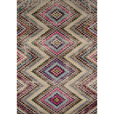 Denissa Pink/Cream Area Rug Rug Size: Rectangle 53 x 76
