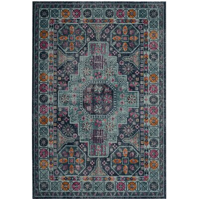 Manya Blue Area Rug Rug Size: Rectangle 3 x 5