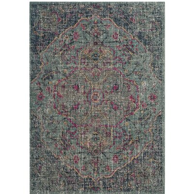 Manya Oriental Blue/Gray Area Rug Rug Size: 51 x 76