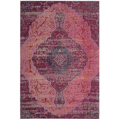 Manya Power Loom Pink Area Rug Rug Size: Rectangle 9 x 12