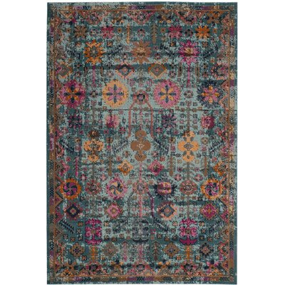 Manya Oriental Light Blue Area Rug Rug Size: Rectangle 51 x 76