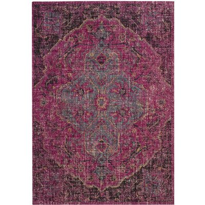 Manya Oriental Rectangle Pink Area Rug Rug Size: Rectangle 4 x 6