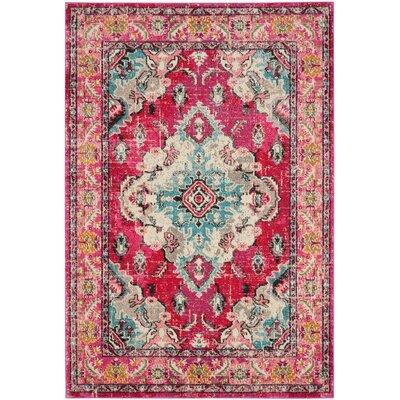 Elston Pink Area Rug Rug Size: 51 x 77