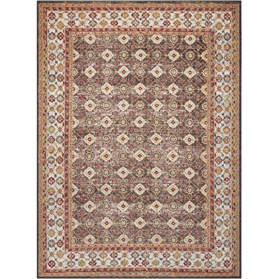 Dover Orange/Beige/Black Area Rug Rug Size: 53 x 73