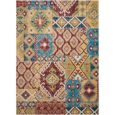 Star Red/Orange/Green Area Rug Rug Size: 53 x 73
