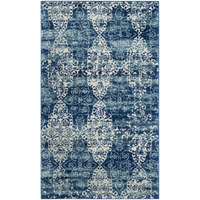 Elson Rectangle Royal/Ivory Area Rug Rug Size: Rectangle 3 x 5