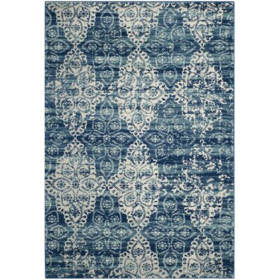 Elson Rectangle Royal/Ivory Area Rug Rug Size: 51 x 76