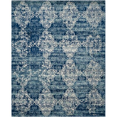 Elson Rectangle Royal/Ivory Area Rug Rug Size: 8 x 10