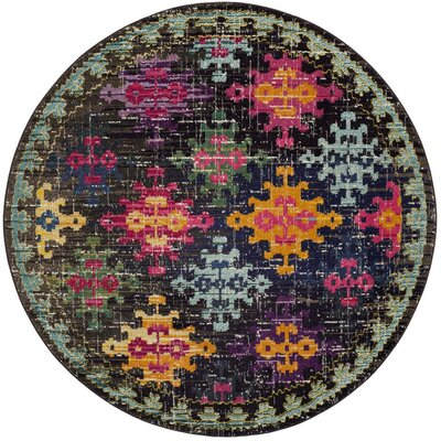 Crosier Green/Pink Area Rug Rug Size: Round 67