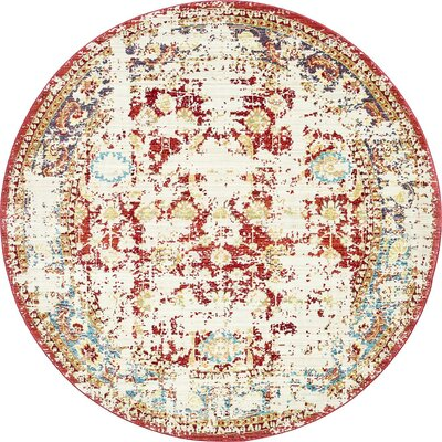 Danbury Red Area Rug Rug Size: Round 6