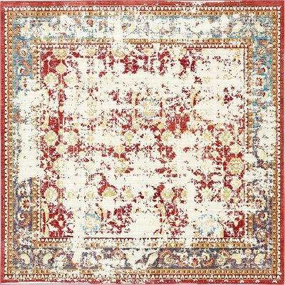 Rune Red Area Rug Rug Size: Square 8'