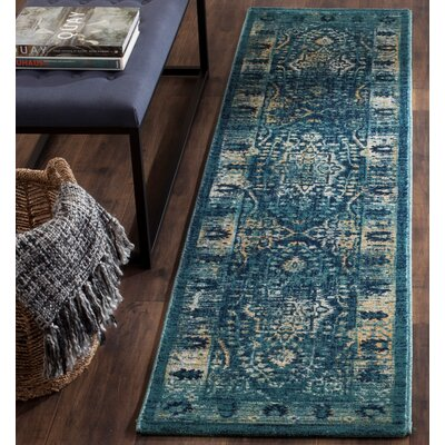 Elson Navy/Gold Area Rug Rug Size: Runner 2 x 8