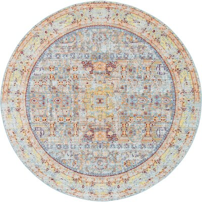 Rune Light Blue Area Rug Rug Size: Round 6'