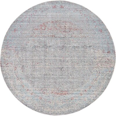 Rune Gray Area Rug Rug Size: Round 6'