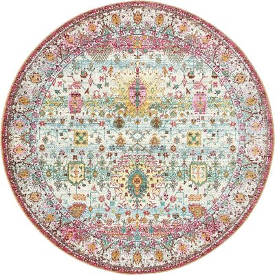 Rune Light Green Area Rug Rug Size: Round 6