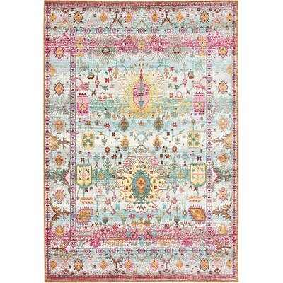 Rune Light Green Area Rug Rug Size: 6 x 9