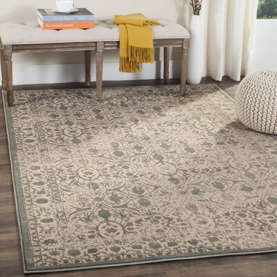 Gilbrae Cream/Sage Area Rug Rug Size: Rectangle 51 x 76
