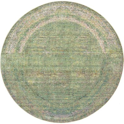 Rune Green Area Rug Rug Size: Round 6'