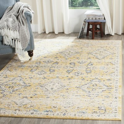 Ameesha Mustard/Ivory Area Rug Rug Size: Rectangle 3 x 5