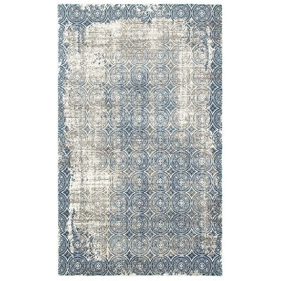 Odie Blue/Cream Area Rug Size: Rectangle 110 x 71
