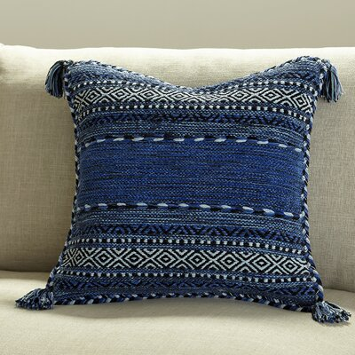 Amrish Pillow Cover Color: Blue, Size: 20 H x 20 W x 1 D